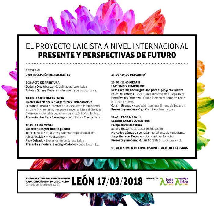 """XIII Jornada Laicista en León el 17 de marzo. """"El proyecto laicista a nivel internacional. Presente y perspectivas de futuro""""."""