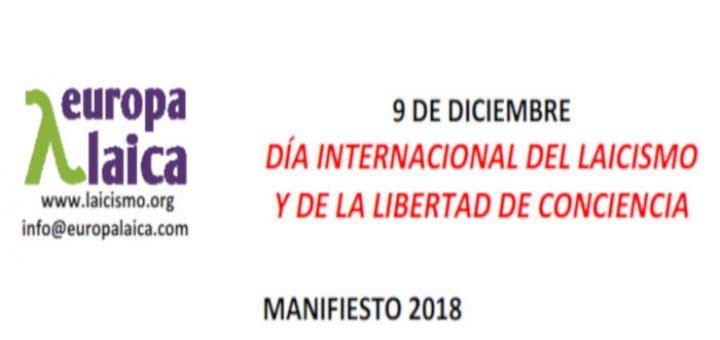Manifiesto de Europa Laica ante el Día Internacional del Laicismo y la Libertad de Conciencia el 9 de diciembre